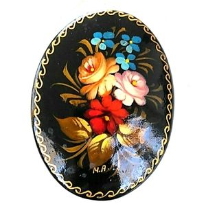 VTG Russian Lacquered HandPainted Signed Brooch
